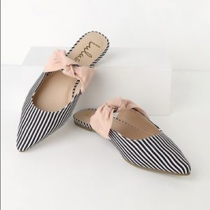 Striped Pointed Toe Bow Mules